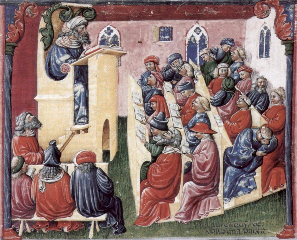 """Laurentius de Voltolina: """"Liber ethicorum des Henricus de Alemannia"""" - Scena Henricus de Alemannia con i suoi studenti"""